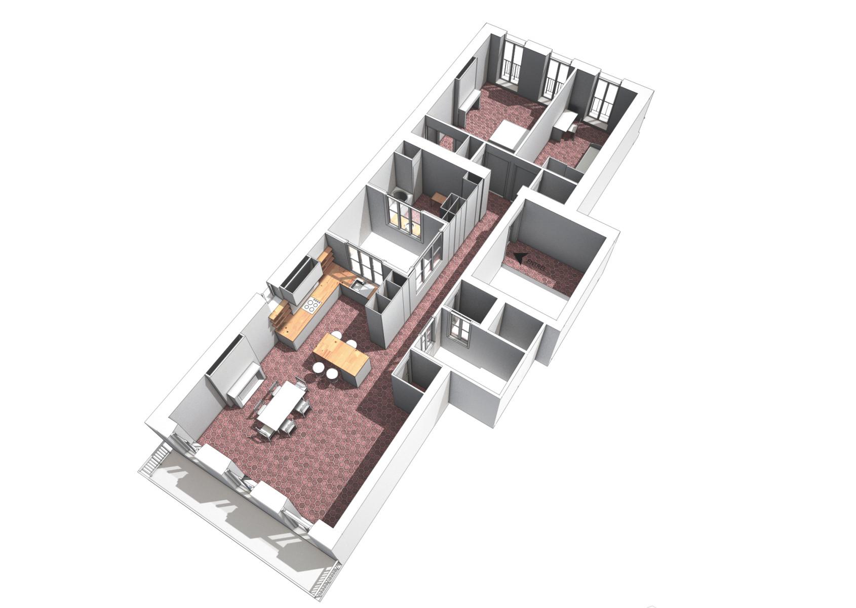 Axonométrie appartement Bd Chave