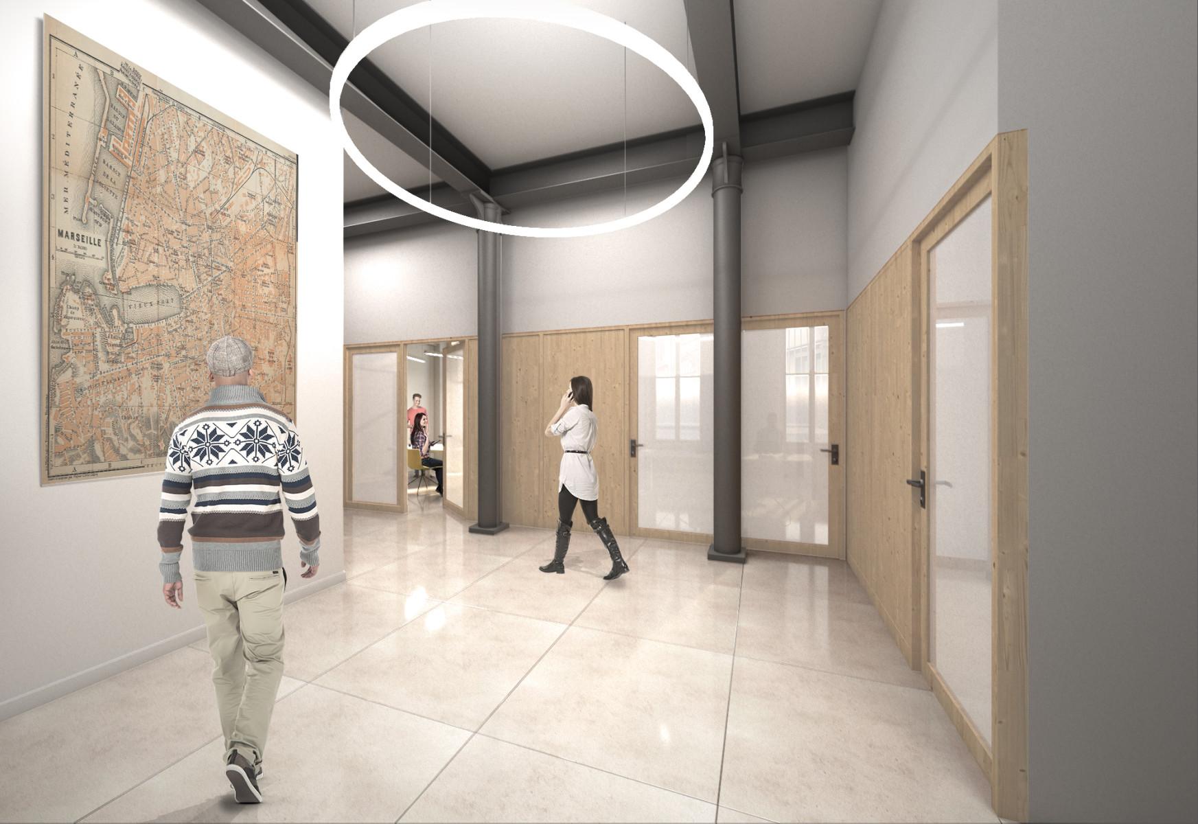 Perspective couloir Bureaux Place Labadié